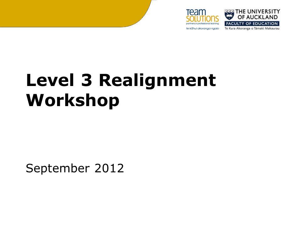 Level 3 Realignment Workshop September 2012