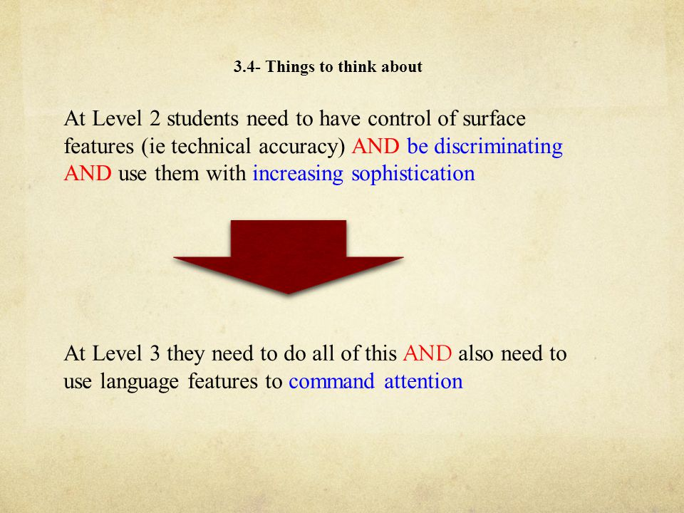 3.4- Things to think about At Level 2 students need to have control of surface features (ie technical accuracy) AND be discriminating AND use them with increasing sophistication At Level 3 they need to do all of this AND also need to use language features to command attention