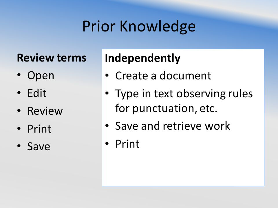 Prior Knowledge Review terms Open Edit Review Print Save Independently Create a document Type in text observing rules for punctuation, etc.