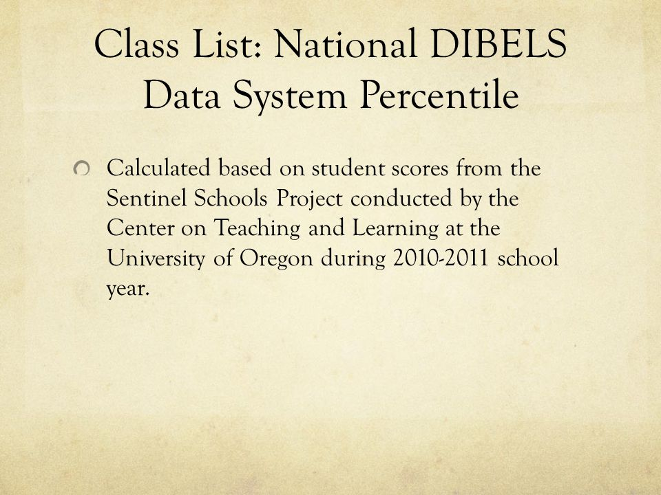 Class List: National DIBELS Data System Percentile Calculated based on student scores from the Sentinel Schools Project conducted by the Center on Teaching and Learning at the University of Oregon during 2010-2011 school year.