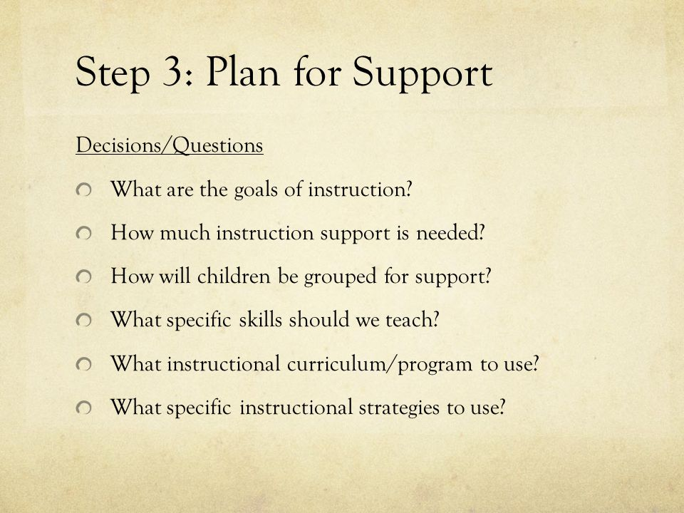Step 3: Plan for Support Decisions/Questions What are the goals of instruction.