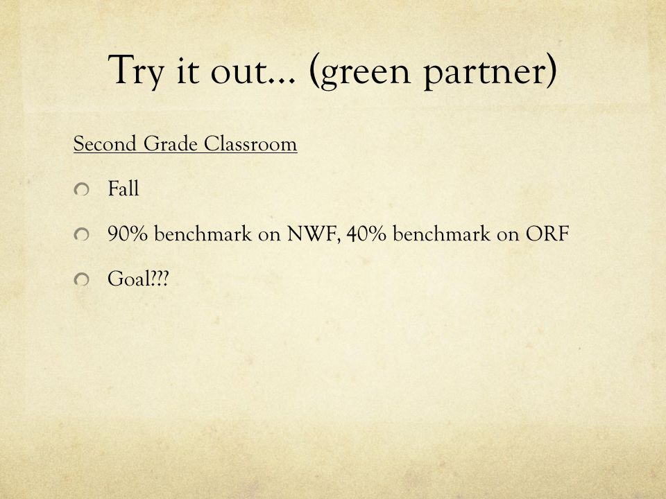Try it out… (green partner) Second Grade Classroom Fall 90% benchmark on NWF, 40% benchmark on ORF Goal???