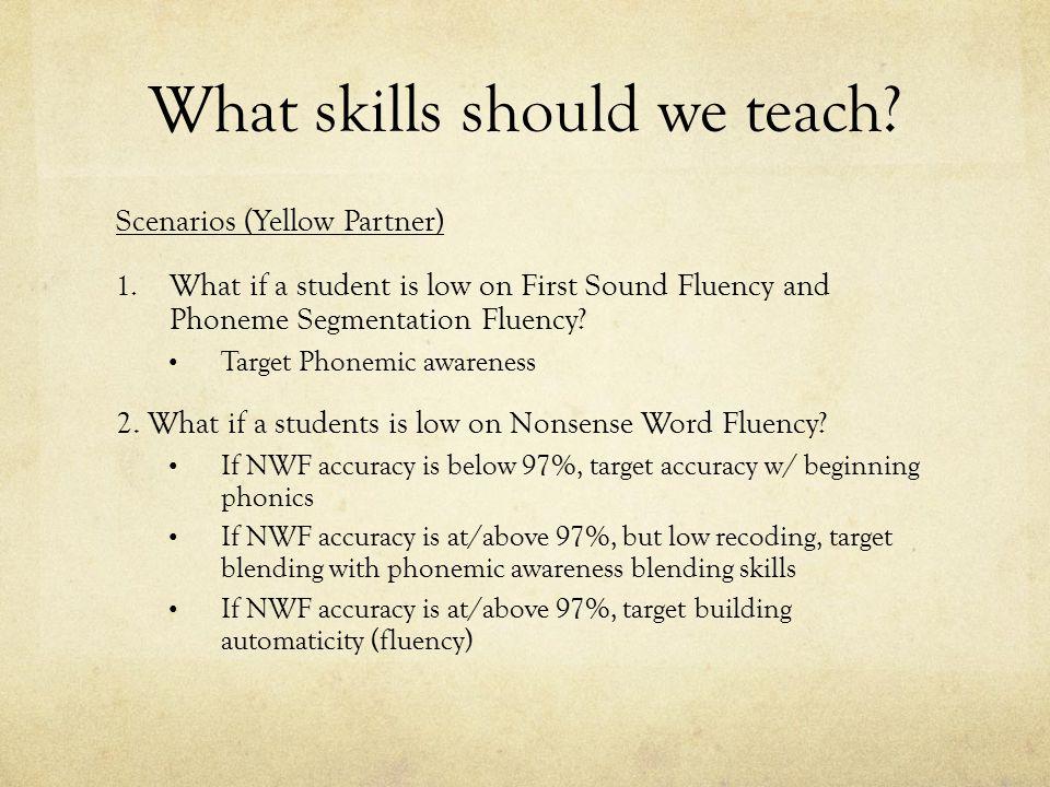 What skills should we teach.Scenarios (Yellow Partner) 1.