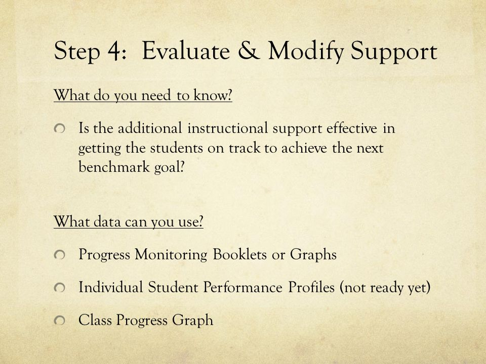 Step 4: Evaluate & Modify Support What do you need to know.