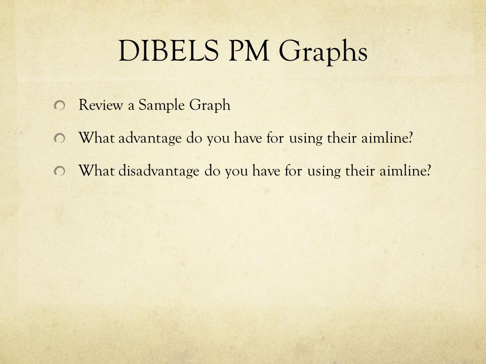 DIBELS PM Graphs Review a Sample Graph What advantage do you have for using their aimline.