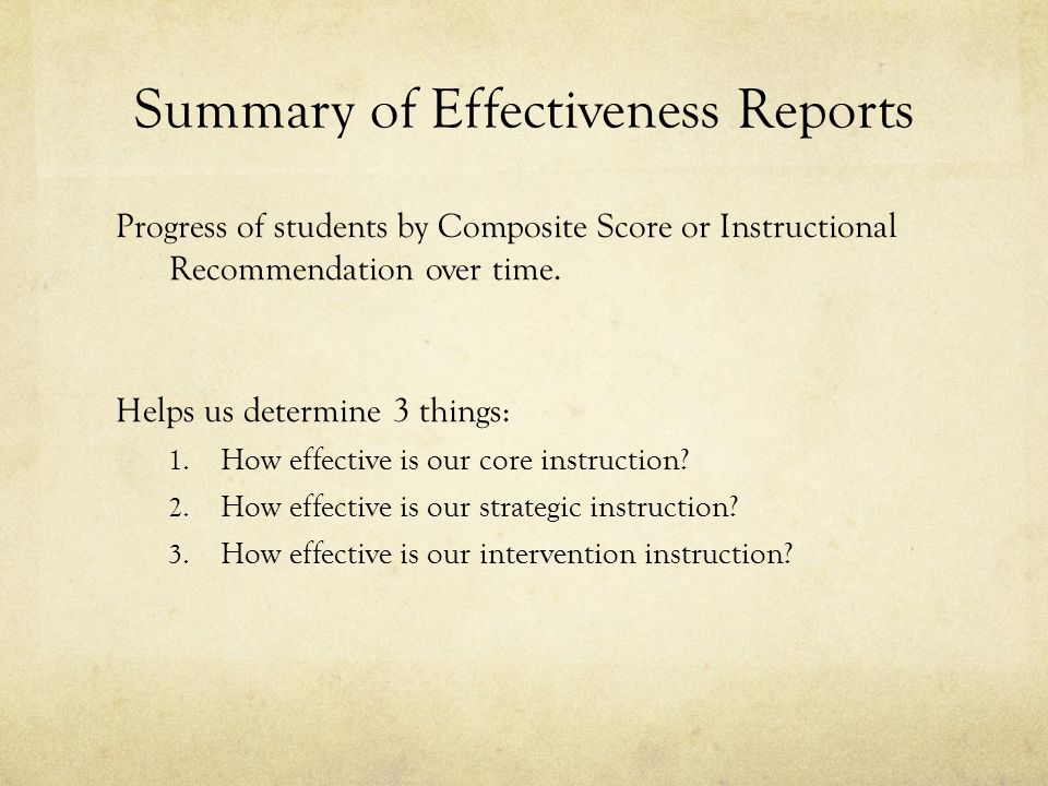Summary of Effectiveness Reports Progress of students by Composite Score or Instructional Recommendation over time.