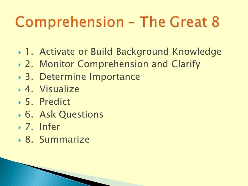  1. Activate or Build Background Knowledge  2. Monitor Comprehension and Clarify  3.