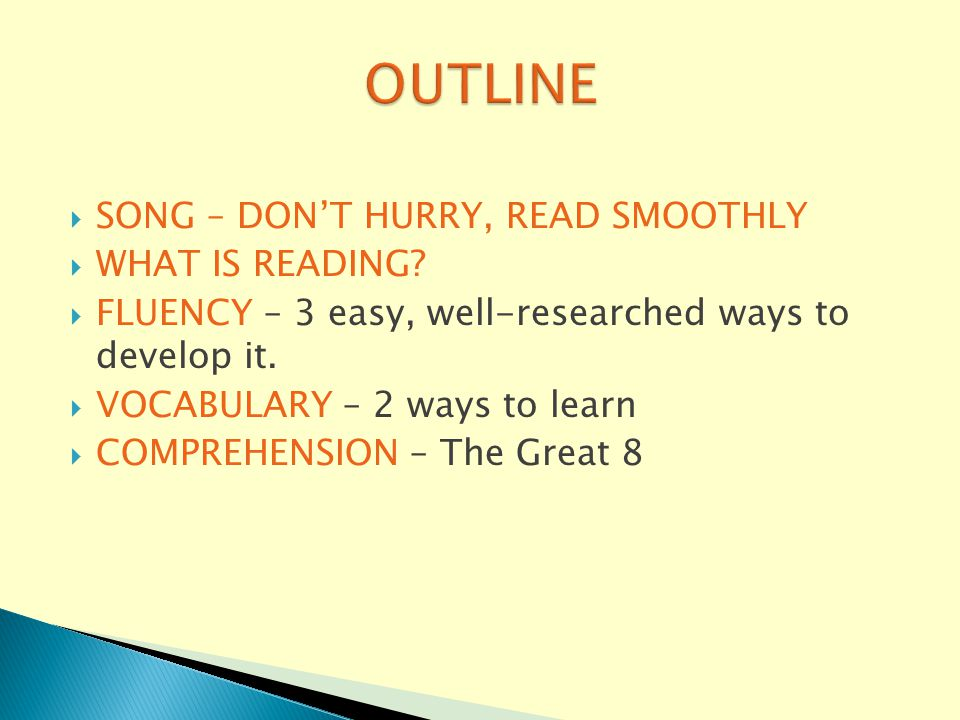  SONG – DON'T HURRY, READ SMOOTHLY  WHAT IS READING.