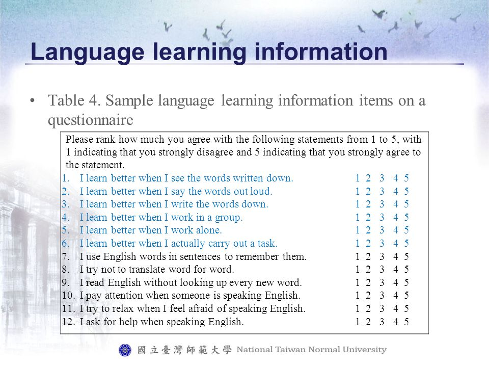 Language learning information Table 4.