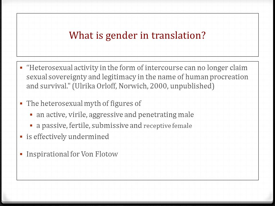 What is gender in translation.