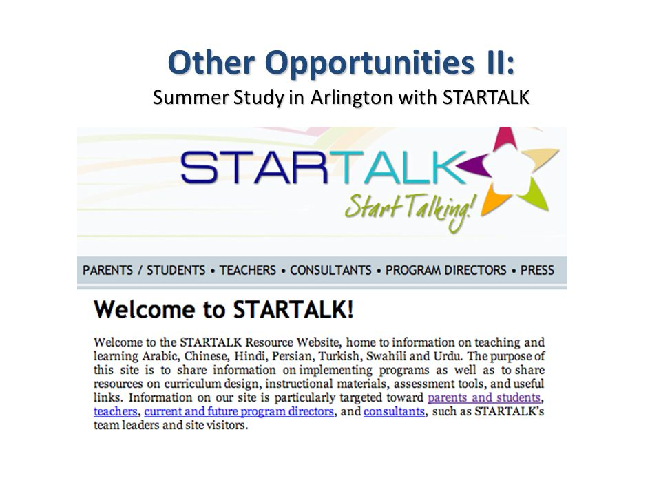 Other Opportunities II: Summer Study in Arlington with STARTALK