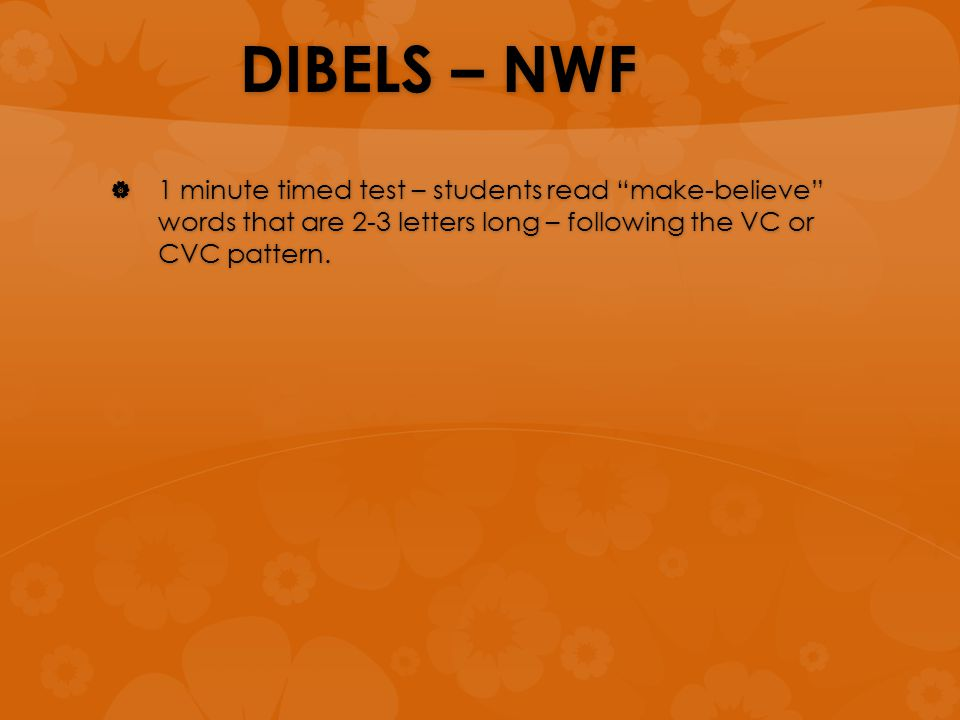 "DIBELS – NWF  1 minute timed test – students read ""make-believe"" words that are 2-3 letters long – following the VC or CVC pattern."
