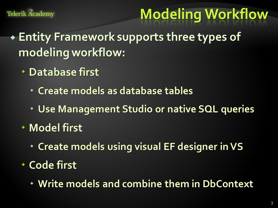  Entity Framework supports three types of modeling workflow:  Database first  Create models as database tables  Use Management Studio or native SQL queries  Model first  Create models using visual EF designer in VS  Code first  Write models and combine them in DbContext 3