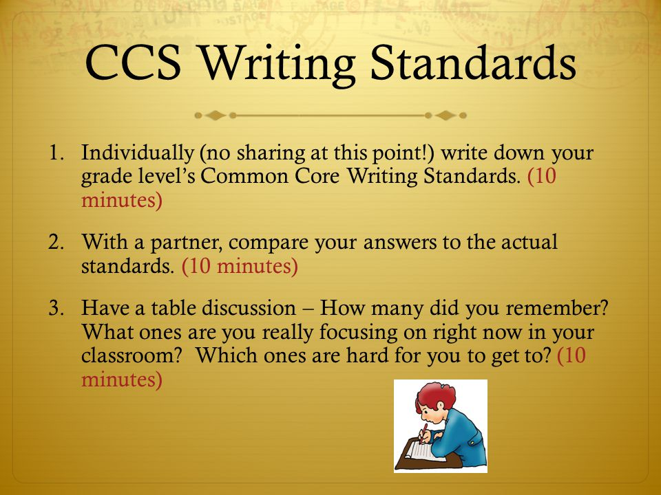 CCS Writing Standards 1.Individually (no sharing at this point!) write down your grade level's Common Core Writing Standards.
