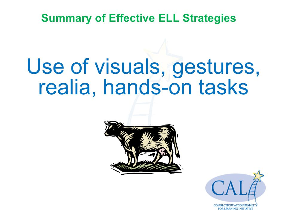 Use of visuals, gestures, realia, hands-on tasks Summary of Effective ELL Strategies