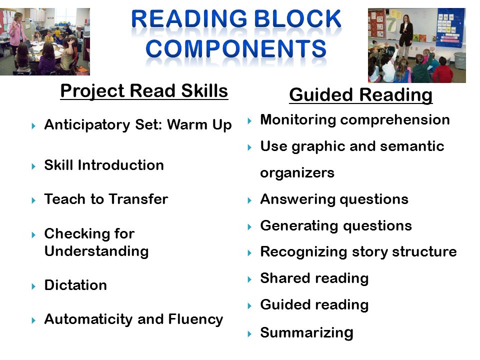 Project Read Skills  Anticipatory Set: Warm Up  Skill Introduction  Teach to Transfer  Checking for Understanding  Dictation  Automaticity and Fluency Guided Reading  Monitoring comprehension  Use graphic and semantic organizers  Answering questions  Generating questions  Recognizing story structure  Shared reading  Guided reading  Summarizin g