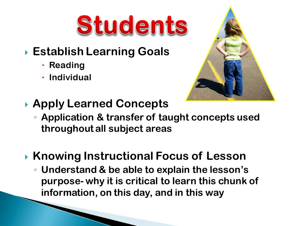  Establish Learning Goals  Reading  Individual  Apply Learned Concepts ◦ Application & transfer of taught concepts used throughout all subject areas  Knowing Instructional Focus of Lesson ◦ Understand & be able to explain the lesson's purpose- why it is critical to learn this chunk of information, on this day, and in this way