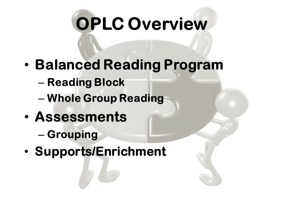 OPLC Overview Balanced Reading Program – Reading Block – Whole Group Reading Assessments – Grouping Supports/Enrichment