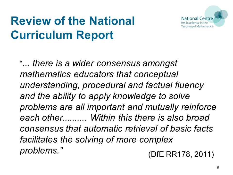 Review of the National Curriculum Report ...