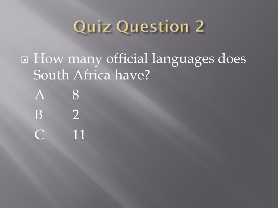  How many official languages does South Africa have A 8 B 2 C 11