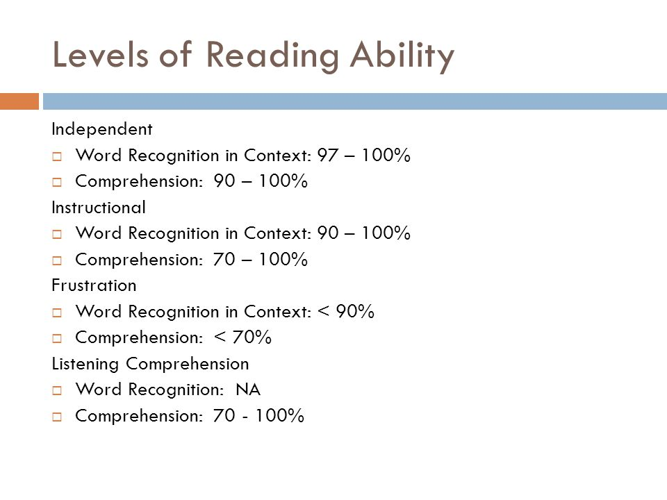 Levels of Reading Ability Independent  Word Recognition in Context: 97 – 100%  Comprehension: 90 – 100% Instructional  Word Recognition in Context: 90 – 100%  Comprehension: 70 – 100% Frustration  Word Recognition in Context: < 90%  Comprehension: < 70% Listening Comprehension  Word Recognition: NA  Comprehension: %