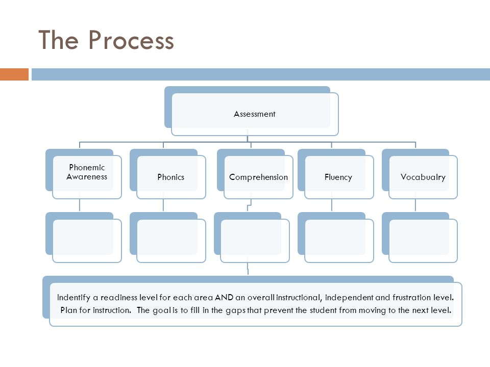 The Process Assessment Phonemic AwarenessPhonics Comprehension Indentify a readiness level for each area AND an overall instructional, independent and frustration level.