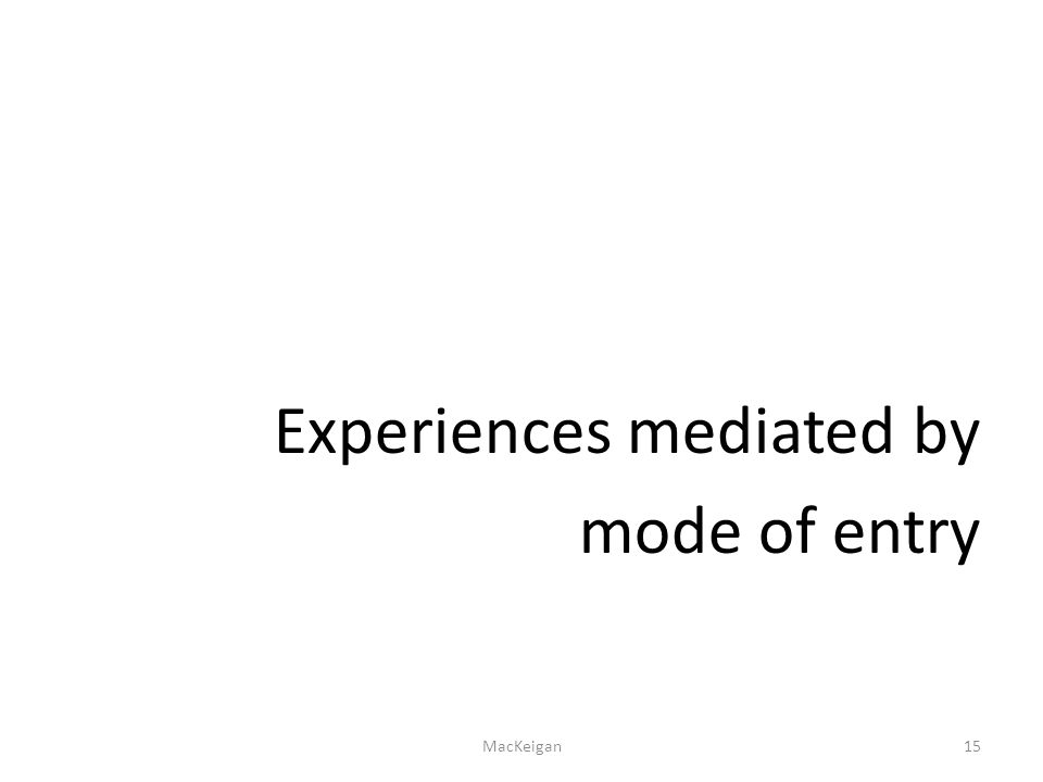Experiences mediated by mode of entry MacKeigan15