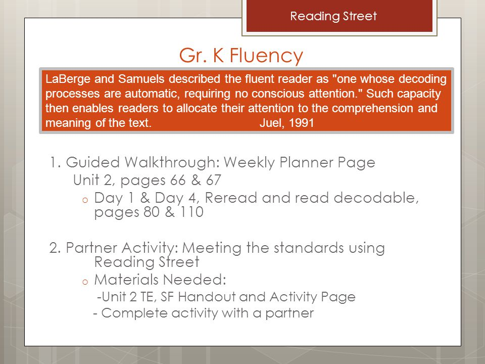 Gr. K Fluency 1. Guided Walkthrough: Weekly Planner Page Unit 2, pages 66 & 67 o Day 1 & Day 4, Reread and read decodable, pages 80 & 110 2. Partner A