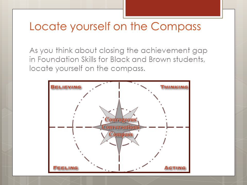 Locate yourself on the Compass As you think about closing the achievement gap in Foundation Skills for Black and Brown students, locate yourself on th