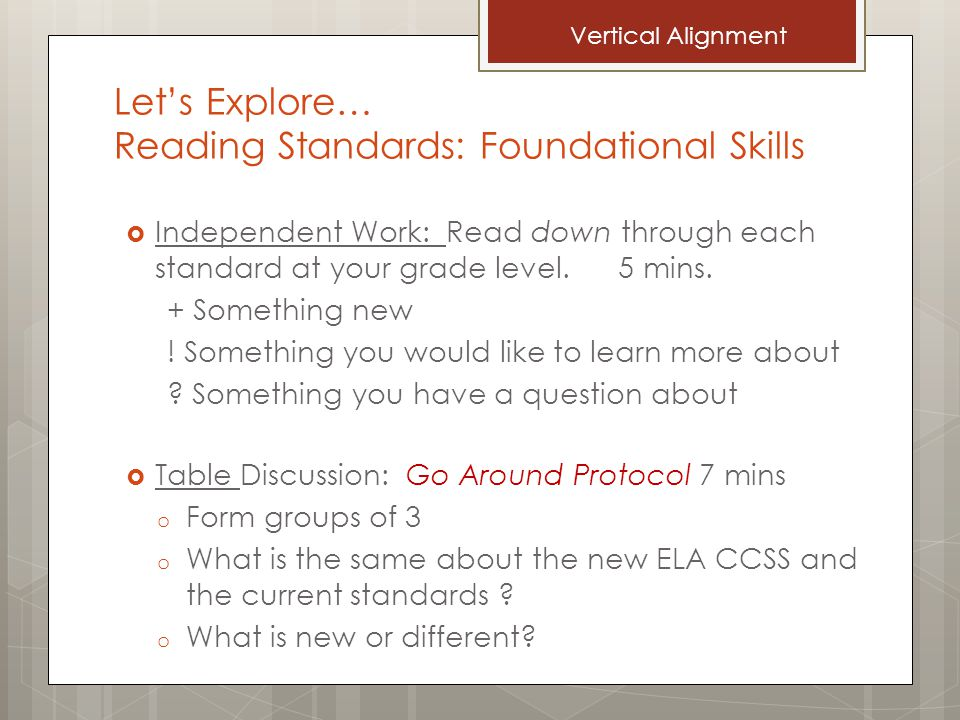 Let's Explore… Reading Standards: Foundational Skills  Independent Work: Read down through each standard at your grade level.