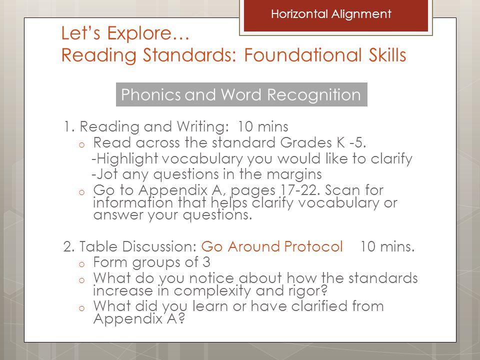 Let's Explore… Reading Standards: Foundational Skills 1.
