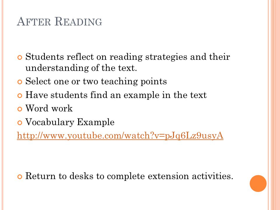A FTER R EADING Students reflect on reading strategies and their understanding of the text.