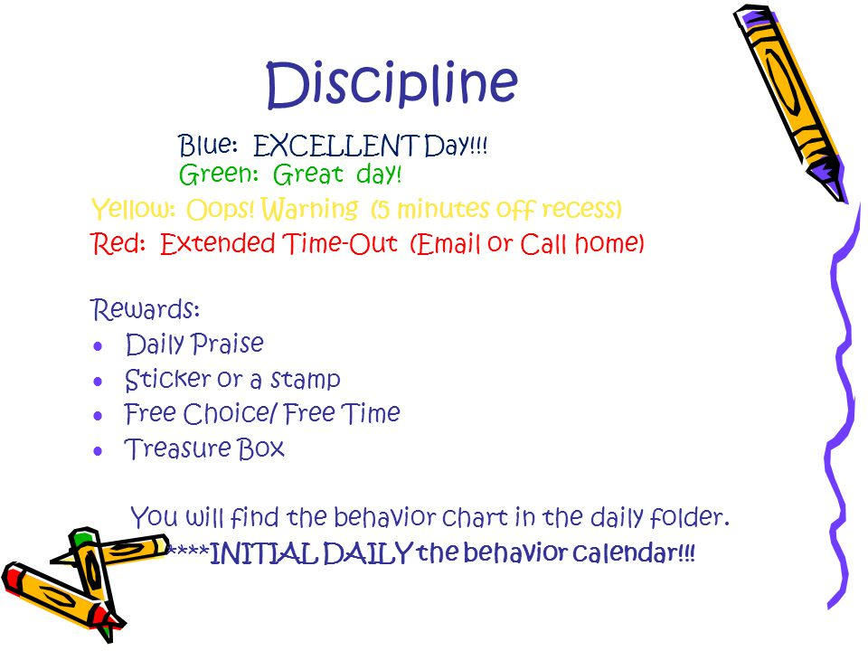 Discipline Blue: EXCELLENT Day!!. Green: Great day.