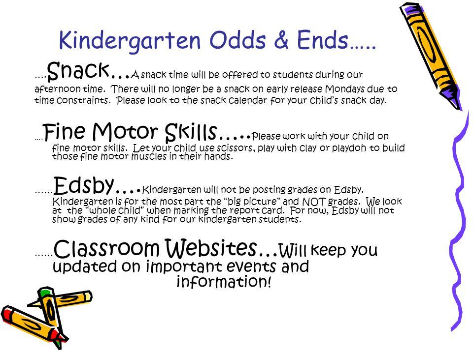 Kindergarten Odds & Ends….. ….