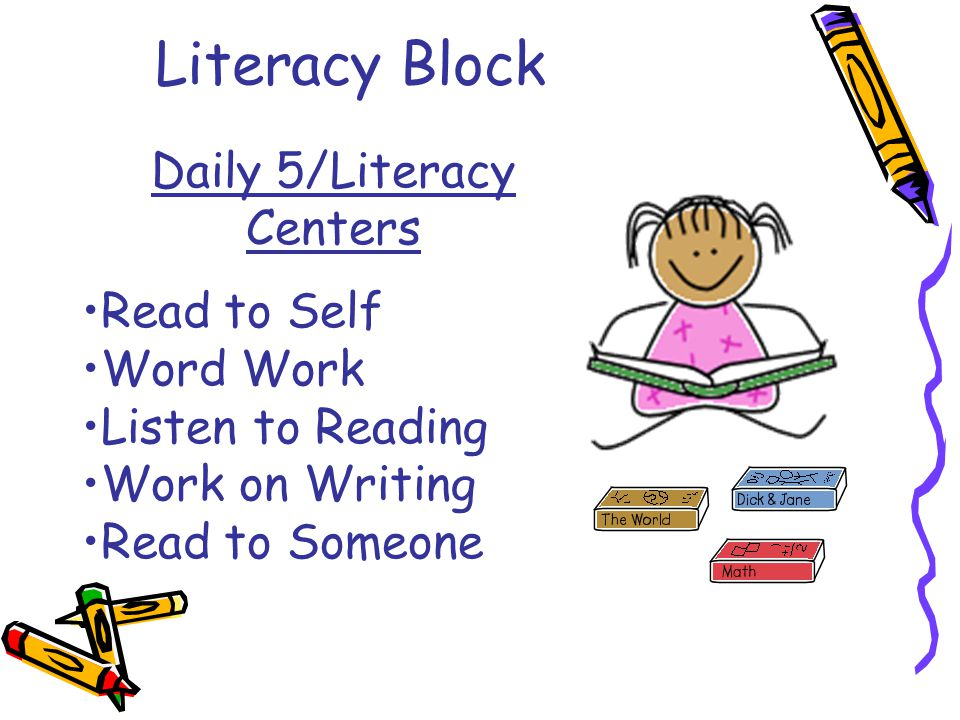Literacy Block Daily 5/Literacy Centers Read to Self Word Work Listen to Reading Work on Writing Read to Someone