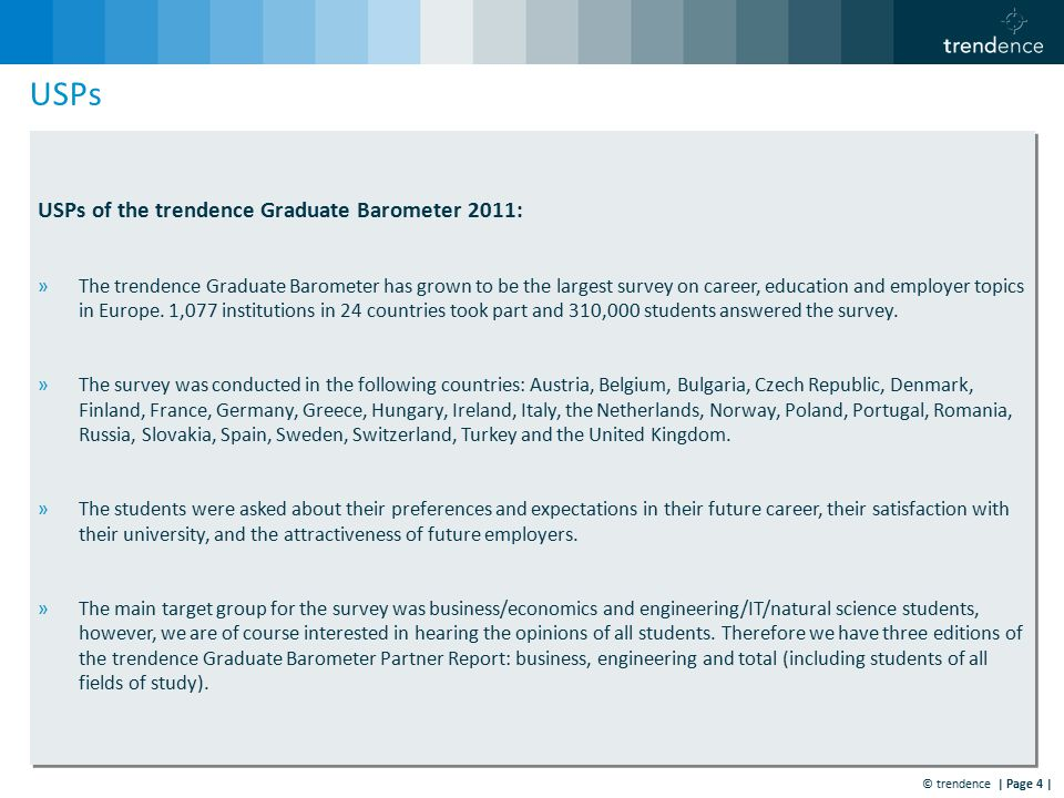 © trendence | Page 4 | USPs USPs of the trendence Graduate Barometer 2011: »The trendence Graduate Barometer has grown to be the largest survey on career, education and employer topics in Europe.