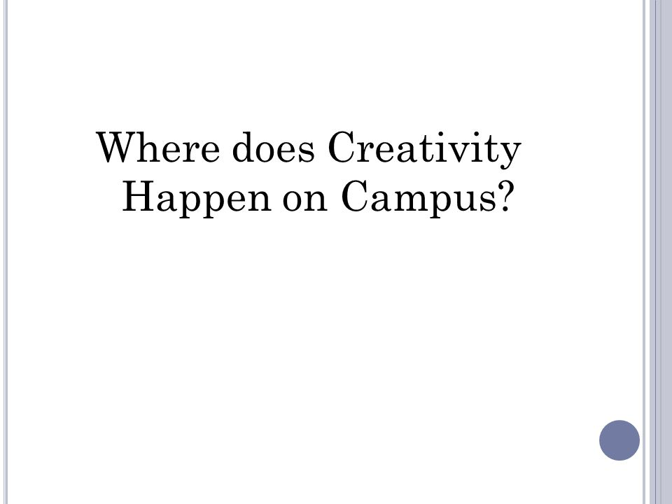Where does Creativity Happen on Campus
