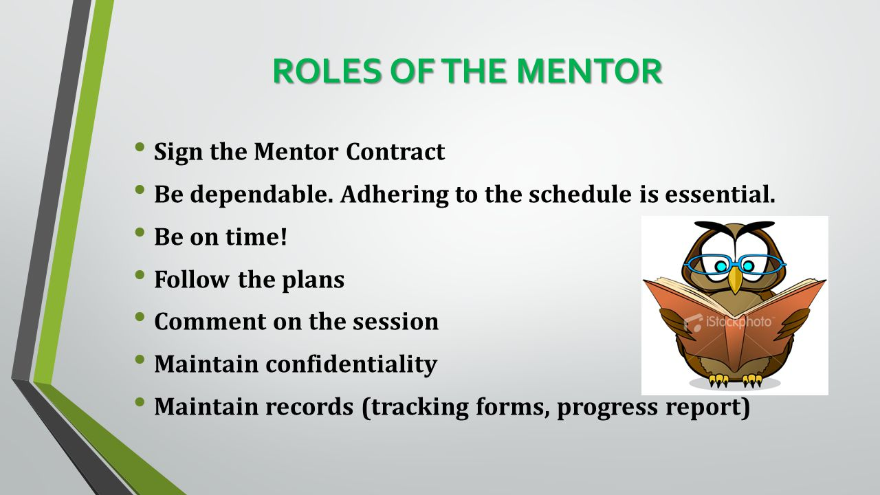 ROLES OF THE MENTOR Sign the Mentor Contract Be dependable.