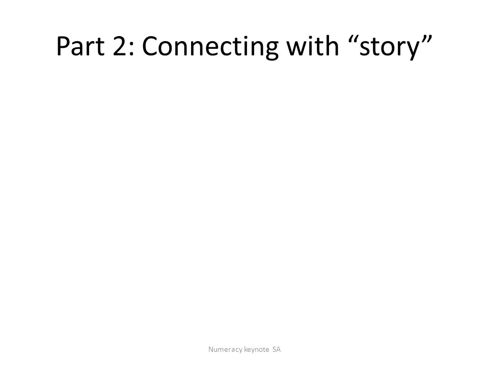 Part 2: Connecting with story Numeracy keynote SA