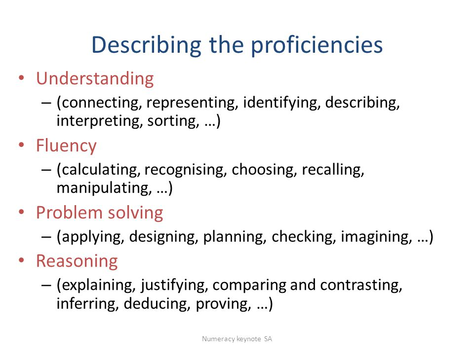 Describing the proficiencies Understanding – (connecting, representing, identifying, describing, interpreting, sorting, …) Fluency – (calculating, recognising, choosing, recalling, manipulating, …) Problem solving – (applying, designing, planning, checking, imagining, …) Reasoning – (explaining, justifying, comparing and contrasting, inferring, deducing, proving, …) Numeracy keynote SA