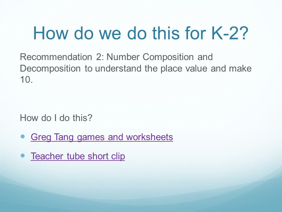How do we do this for K-2.