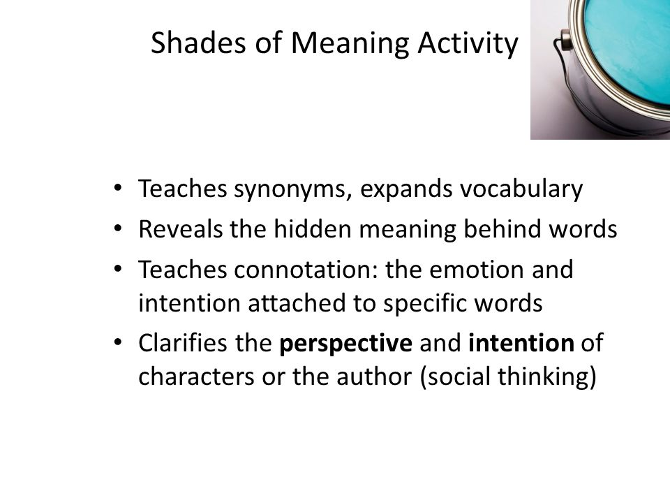 Shades of Meaning Activity Teaches synonyms, expands vocabulary Reveals the hidden meaning behind words Teaches connotation: the emotion and intention attached to specific words Clarifies the perspective and intention of characters or the author (social thinking)