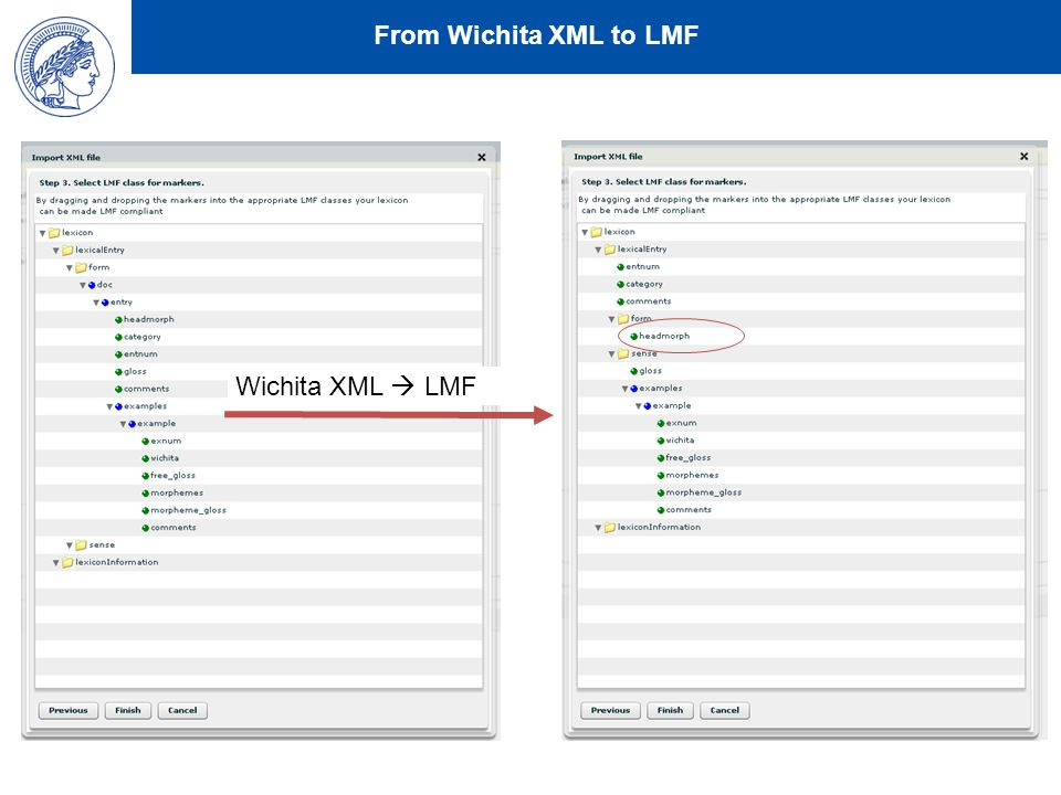 From Wichita XML to LMF Wichita XML  LMF