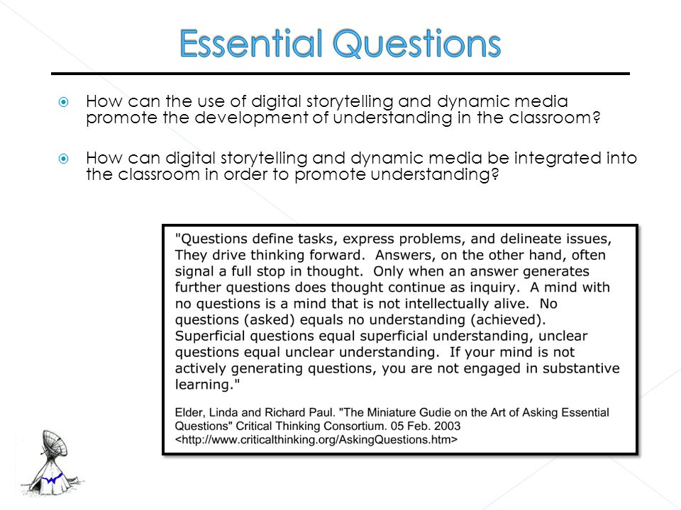  Start with an essential question  Write the script that answers the essential question  Gather your media – photos, graphics, audio, video, music  Document all the information you will need to cite your sources  Choose a dynamic media tool to put the story together - Regina Royer and Jeff Royer Students must…