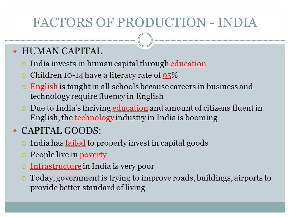 FACTORS OF PRODUCTION - INDIA NATURAL RESOURCES:  India has Fertile land for farming, rice, wheat, coal for their natural resources ENTREPRENEURSHIP:  India also has high levels of entrepreneurship – new businesses are encouraged