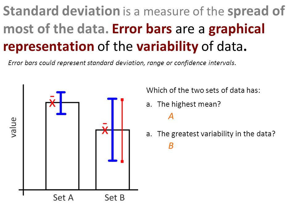 Standard deviation is a measure of the spread of most of the data. Error bars are a graphical representation of the variability of data. Which of the