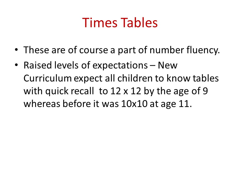 Times Tables These are of course a part of number fluency.