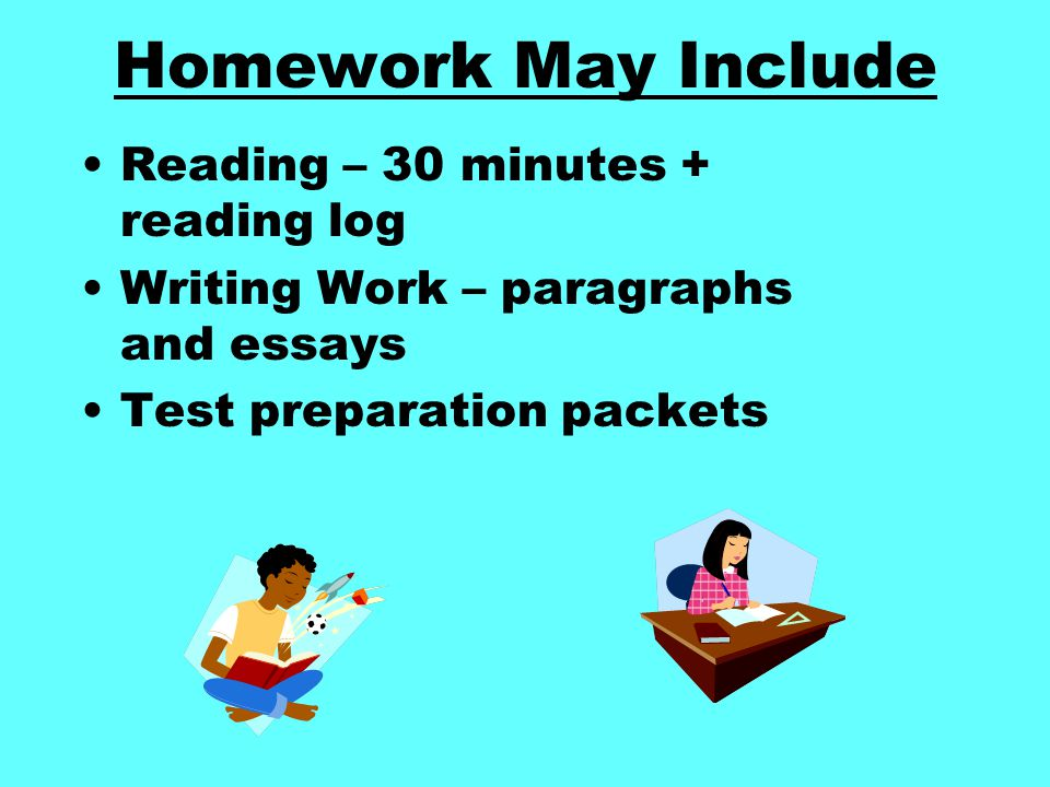 Homework May Include Reading – 30 minutes + reading log Writing Work – paragraphs and essays Test preparation packets