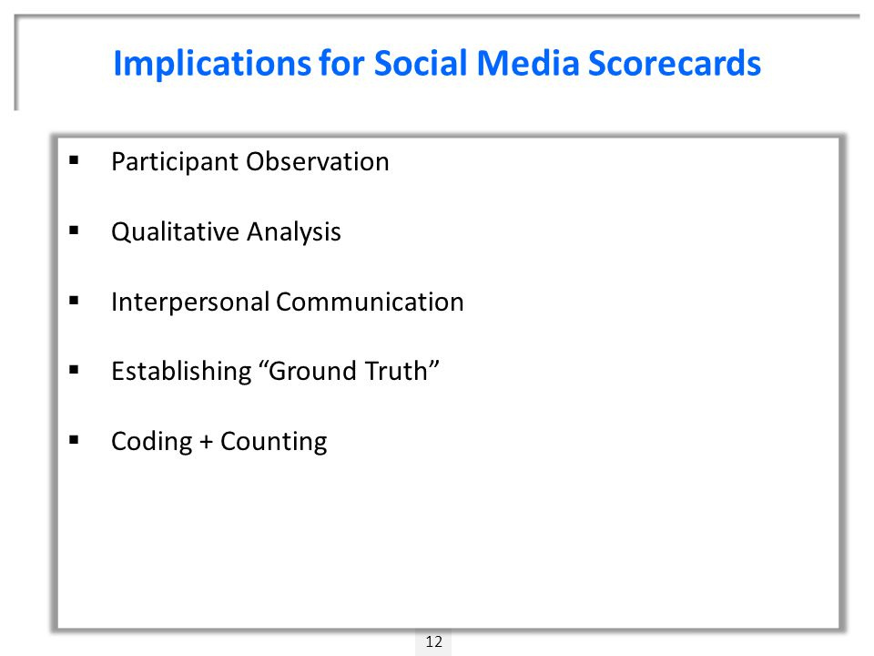 Implications for Social Media Scorecards 12  Participant Observation  Qualitative Analysis  Interpersonal Communication  Establishing Ground Truth  Coding + Counting