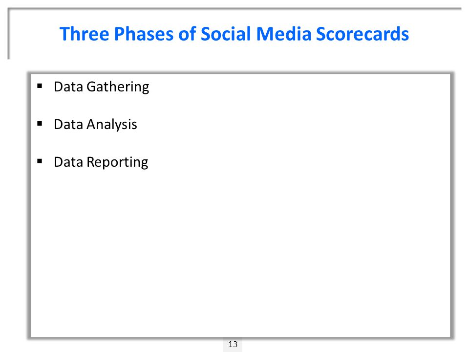 Three Phases of Social Media Scorecards 13  Data Gathering  Data Analysis  Data Reporting